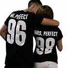 T-SHIRT UOMO DONNA MR E MRS PERFECT + NUMERO PERSONALIZZATO San Valentino COPPIA