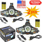 2pcs 40W 13000Lm LED Headlamp 3xXM-L T6 HeadLight +2X18650 Battery+Charger Sets