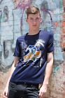Mens Crew Neck Printed T-Shirt  Sport Fit Casual T-Shirt  - Navy Blue