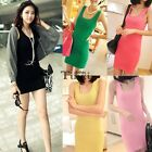Womens Slim Fit Stretch Long Sleeveless Camisole Vest Tank Top Mini Dress TXCL