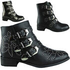 Womens Ladies Faux Leather Triple Buckle Studded Shoes Ankle Biker Boots Size