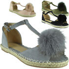 New Womens Ladies T-Bar Fur Pom Pom Espadrilles Shoes Peeptoe Sandals Flats Size