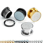 """6G-9/16"""" Stainless Steel Glitter Screw Expanders Flesh Tunnel Plugs Stretchers"""