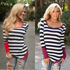 Cool Women Casual Long Sleeve Crewneck Loose Blouse Striped Tops T Shirt