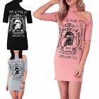 Ladies Choker Neck American Rock n Roll Star Womens Loose Fitted T Shirt Dress