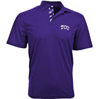 TCU Horned Frogs Short Sleeve NCAA Polyester Men Polo Purple Shirt by Levelwear