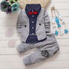 2pcs Toddlers Baby Boys Kids Shirt Tops+Long Pants Clothes Outfits Gentleman Set