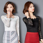 Delicate Women Lace Flowers Blouse Tops Fashion Lady Long Sleeve Tee Shirts