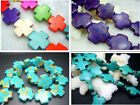 "15、20MM beautiful Howlite Turquoise Cross Loose Beads 16"" 0513-1"