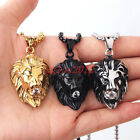 New Stainless Steel Lion Head Micro inlay Rhinestones Pendant Necklace Mens Gift