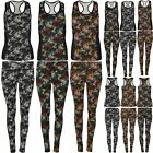 Womens Ladies Abstruct Print Running Exercise Chiffon Panel Vest and Legging