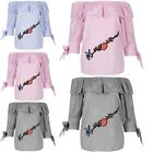 Womens Ladies Off The Shoulder Ruffle Frill Rose Embroidery 3/4 Tie Sleeve Top