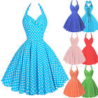 Lady Vintage 50s Halter Polka Dot Swing Dress Housewife Party Retro Pin Up Dress