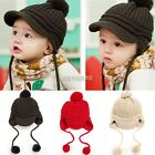 Peaked Cap Knitted Hat Crochet Baby Winter Boys Girls Hot Ball Knit Sweet K0E1