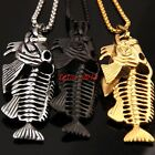 New Men's Cool Hip Hop Stainless Steel Fish Bone Big Pendant Necklace Free Chain
