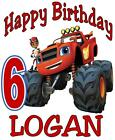BLAZE MONSTER TRUCK BIRTHDAY T-SHIRT Personalized Any Name/Age Toddler to Adult