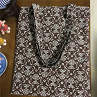 Handmade Cotton Linen Eco Shopping Tote Shoulder Bag Print rural Flower Brown B#