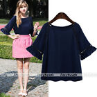 Chic Women's Dark Blue Half Flare Sleeve Lace Casual Shirt Loose Tops Blouse