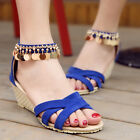 Summer Women Wedge Mid Heels Sandals Metal Chain Ankle Strap Suede Shoe Stylish