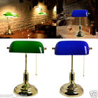 RETRO BANKERS Table Desk Lamp LED Light Antique Brass with Green/Blue Shade New