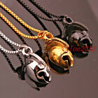 Men's Cool Stainless Steel Spartan Warriors Mask Pendant Necklace Free Box Chain