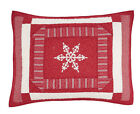Home Classic Holiday NICHOLAS QUILT SHAM - Red Snowflakes KING or STANDARD *NEW*