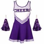 HIGH SCHOOL CHEERLEADER GIRLS UNIFORM COSTUME OUTFIT FANCY DRESS With 2 POMPOMS