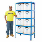 Value Garage Shelving Storage Kits Heavy Duty Shelves 36 Litre Boxes