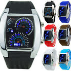 New HOT SALE RPM Turbo Blue Flash LED Mens Sports Car Meter Dial Watch Pretty