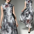 Vintage Fashion Chinese Womens Cheongsa Printing Organza Evening Long Maix Dress