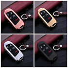 For Jeep Remote Car Key Fob Case Aircraft Aluminum Cover Genuine Leather Chain