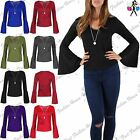 Ladies Womens Crepe V Neck with Necklace Long Bell Sleeve Casual T Shirt Top