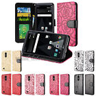 For LG Aristo Fortune LV3 PU Leather Wallet Case Stand Credit Card Cover Flower