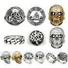 1pc Silvery Golden Punk Gothic Skull Steel Finger Ring Men Women Jewelry Gift