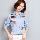 Women Long Sleeve Striped Button Down Floral Embroidered Shirts Casual Tops S-XL