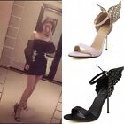 Womens Ankle Pumps Strap Butterfly Open Toe High Heels Sandals Bride Party Shoes