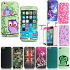 Hybrid Floral 360° Hard Case Cover Tempered Glass for Apple iPhone 5 6 6s 7 Plus
