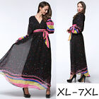 XL-7XL plus size women's dress V-neck Polka Dot summer beach party long Dresses
