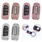 For Jeep Remote Car Key Cover Bling Crystal Aluminum Case Genuine Leather Chain