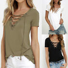 Summer Womens V Neck Lace Up T-Shirt Short Sleeve Loose Tops Casual Blouse .WB