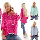 WoW Exclusives Made in Italy Tunika Bluse Turn-Up-Ärmel Neu