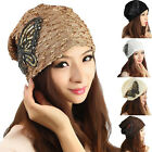 Big Butterfly Ornament Lady Women Adjustable Lace Beanie Hat Cap Turban Fashion