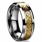 New Men's Band Rings Stainless Steel Silver Celtic Dragon Titanium Dance Party
