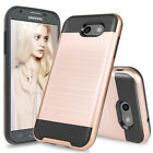 For Samsung Galaxy J3 Emerge Shockproof Brushed Armor Rubber Case +Glass Screen