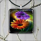FLOWERS FULL COLORED PENDANT NECKLACE 3 SIZES CHOICE -jdb6Z