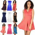 Ladies Womens Collar Tuxedo Over Wrap Flared V Plunge Mini Skater Franki Dress