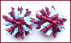SCHOOL UNIFORM BURGUNDY LIGHT BLUE KORKER HAIR BOWS BOBBLES CLIPS