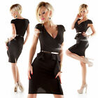 DAMEN BUSINESS ETUI KLEID PEPLUM COCKTAIL PARTY KLEID SCHÖßCHEN GR. 36 NEU