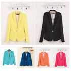 Casual Slim Solid Suit Blazer Jacket Coat Outwear Women Fashion Candy Color Hot