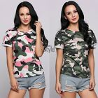 Women's Casual Camouflage Short Sleeve Top Blouse Jumper Pullover Tee T-shirt TI